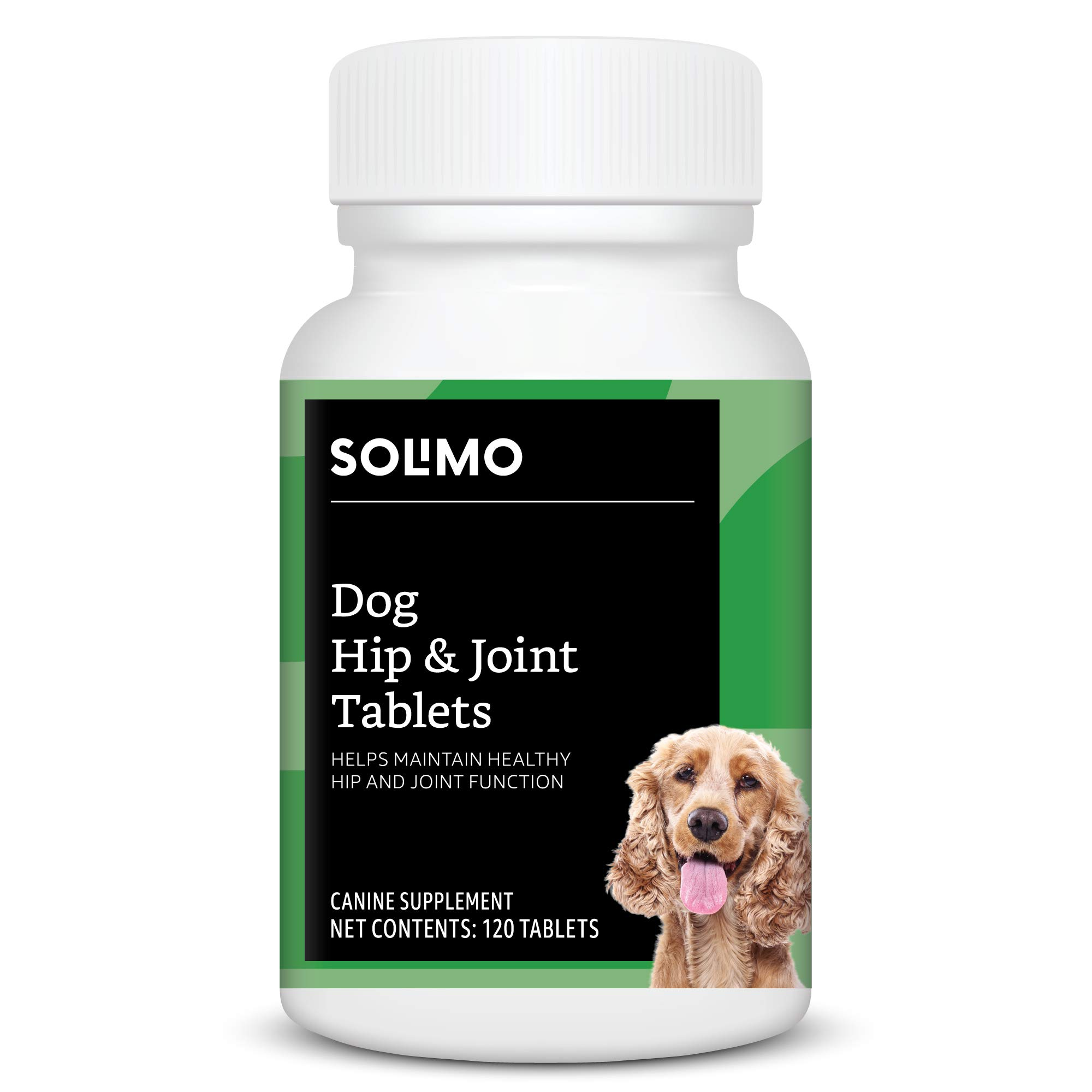 Amazon Brand - Solimo Dog Hip & Joint Chewable Tablets, Duck Flavored, 120 Count by Solimo