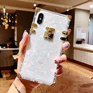 """KAPADSON for iPhone Xs Max 6.5"""" Clear Case, Luxury Clear Crystal Square Metal Corner Fashion Soft Cover"""