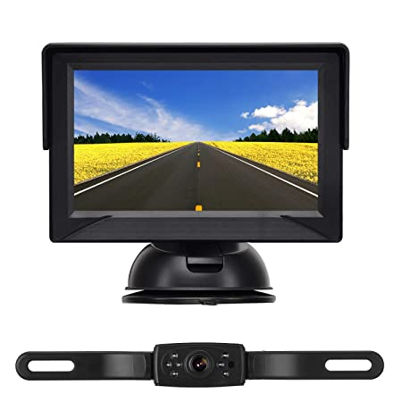 iStrong Backup Camera System 4.3 Monitor for Truck Car Pickup Camper SUV IP68 Waterproof Rear View Front View Camera Connecting Single Power Reversing Driving Use Night Vision