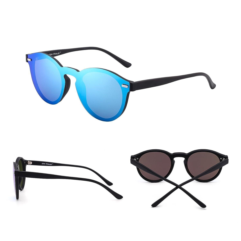Polarizadas Sin Montura Borde Con Cuerno Gafas de Sol Redondas Espejo Una Pieza Anteojos Para Mujer Hombre