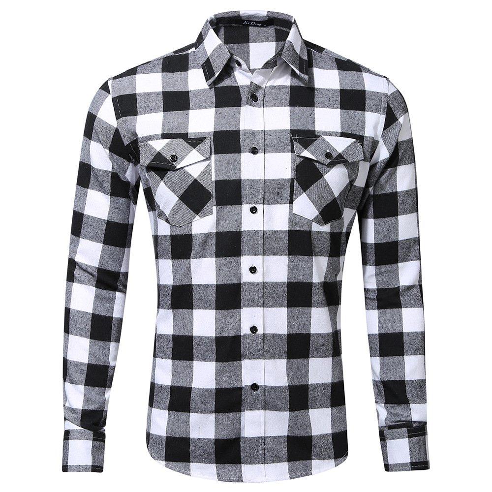 Mens Plaid Flannel Shirt Long Sleeve Button Up Plaid Regular Casual Shirts