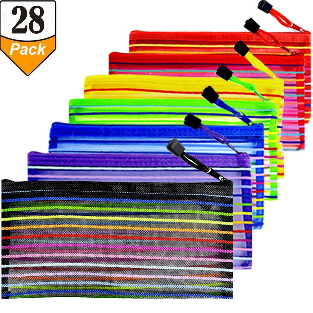 28 Pcs Rainbow Stripes Zipper Mesh Pencil Pouch Multipurpose Travel Bag for Cosmetics Makeup Offices Supplies School Locker Organizer Accessories, 7 Color, 4Pcs Per Color, by Gallop Chic