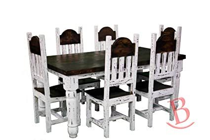 Amazoncom Rustic Ft White Scraped Dining Table Set Solid Wood - 6ft dining table and chairs