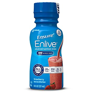 54fdd0aba5 Ensure Enlive Advanced Nutrition Shake with 20 grams of protein, Meal  Replacement Shakes, Strawberry