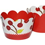 Cherry Red Summer Cupcake Wrappers, 50s Theme Party Supplies, Confetti Couture, 36 Decorative Wraps for Cupcakes