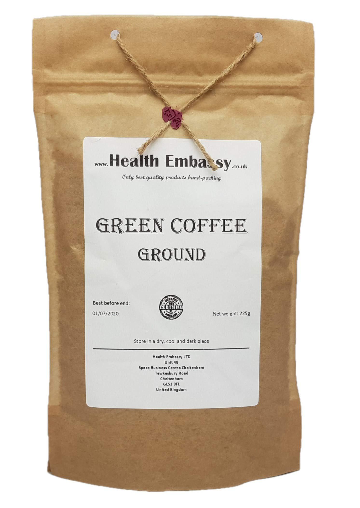 Green Coffee Bean - Ground - Health Embassy - 100% Natural (225g)