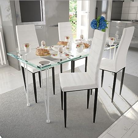 CASASMART - Mesa Cristal + 4 sillas Blancas Design: Amazon.es: Hogar