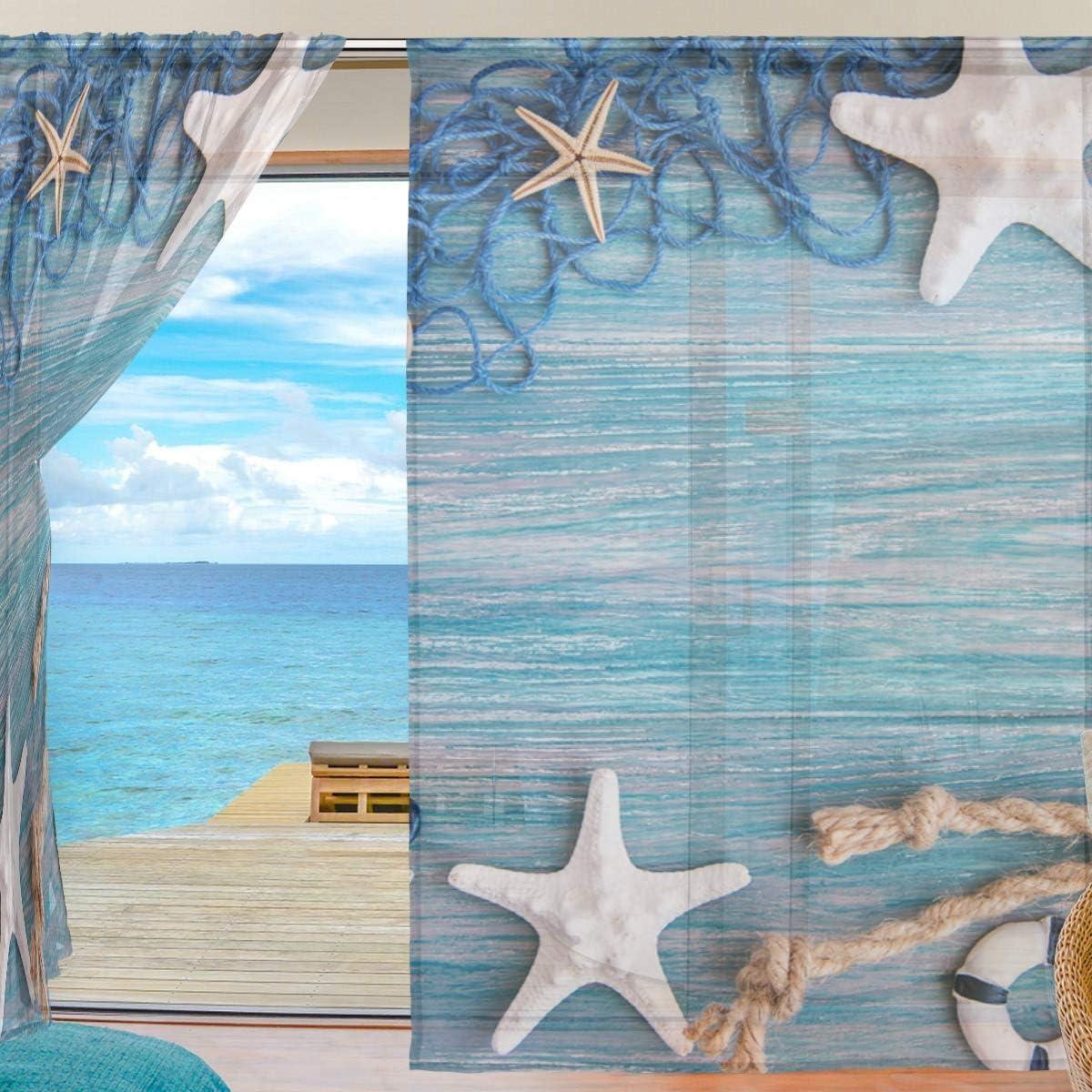 55x78x2 Poliestere in Tenda velata in tulle 140 x 198 cm decorazione per la casa soggiorno ideale per camera da letto con motivo a stelle marine Isoaa Multicolore
