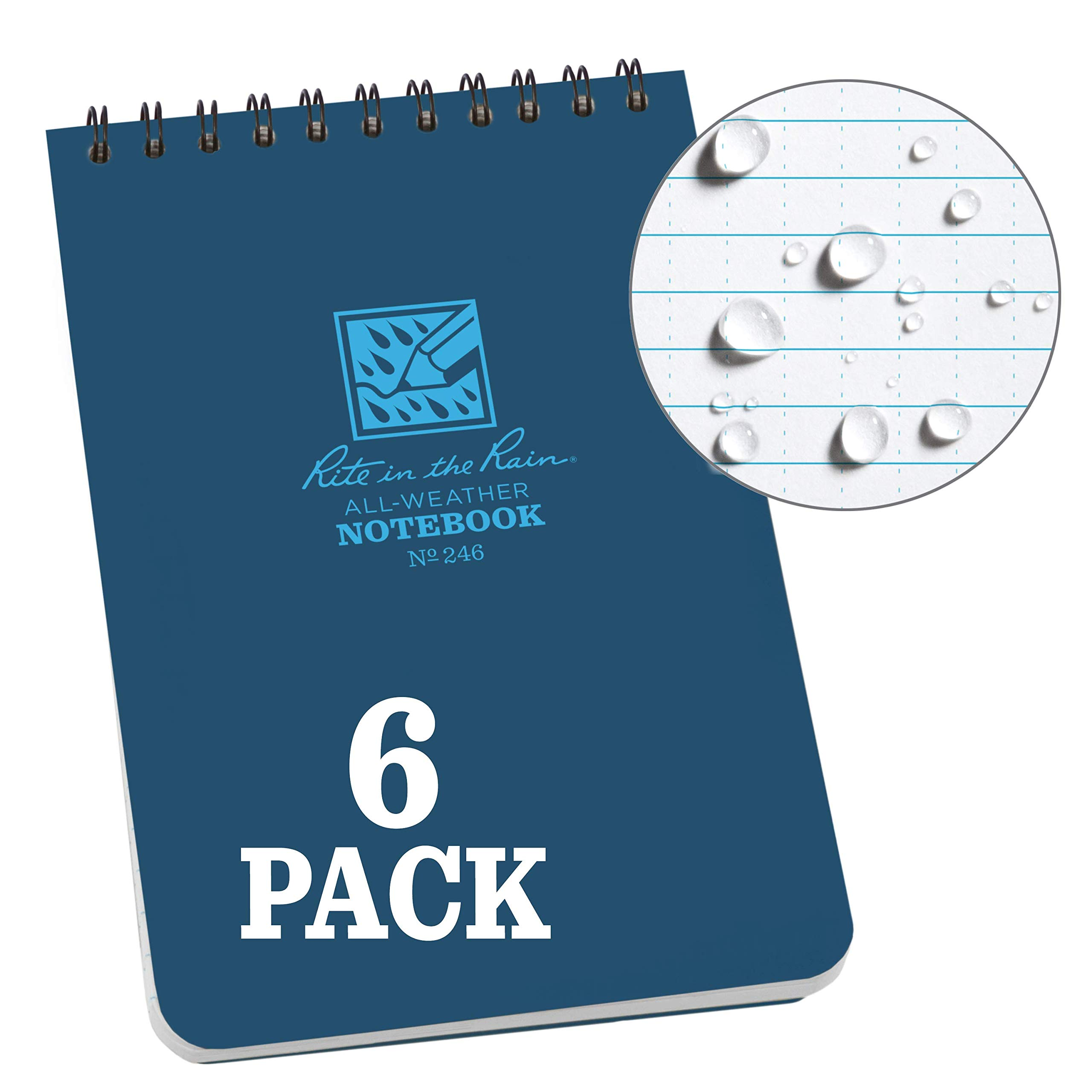 Rite In The Rain Weatherproof Top Spiral Notebook, 4'' x 6'', Blue Cover, Universal Pattern, 6 Pack (No. 246L6)