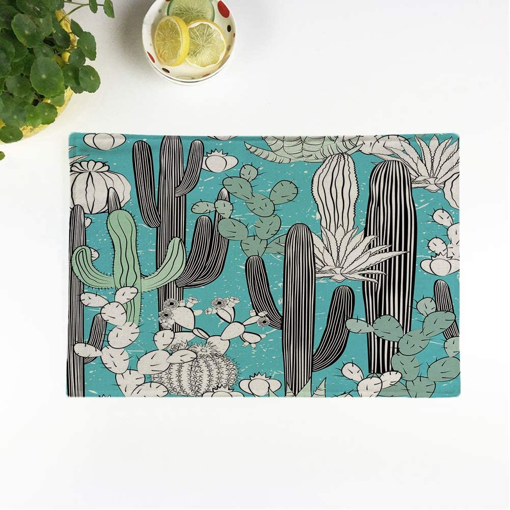 rouihot Set of 4 Placemats Cactus Wild Cacti Forest Pleasant Blue and Green Palette Non-Slip Doily Place Mat for Dining Kitchen Table