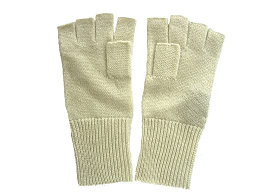 fcc32a154dee9 Cream Pure 100% Cashmere Fingerless Half Finger Gloves at Amazon ...