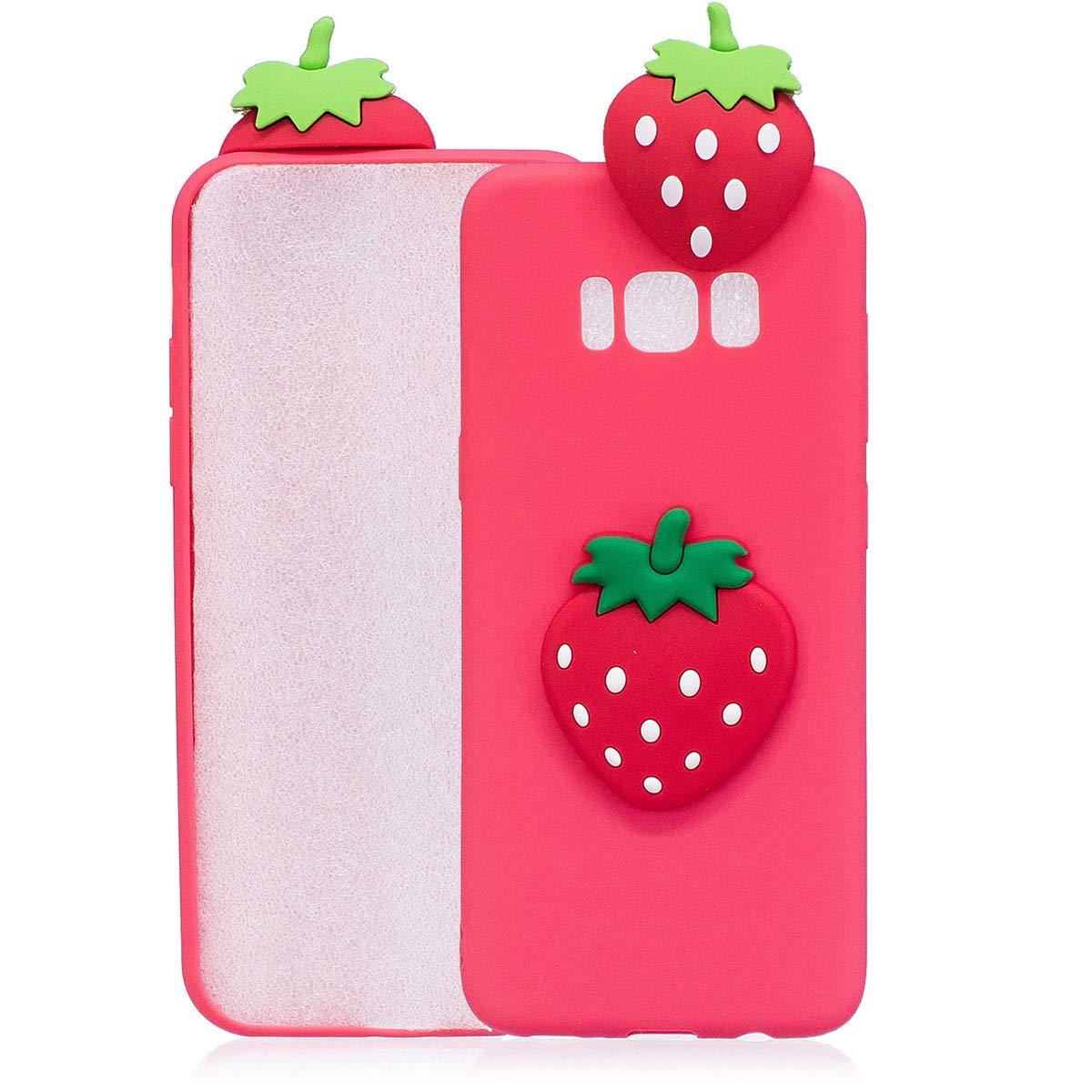 WUBAOUK Cover Compatibile con Samsung S8 Cute Strawberry Pattern 3D Cartoon Soft Silicone Cover Fruits Animals Design 3D Silicone Case
