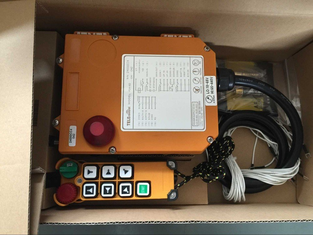 Industrial Home Remote Control Single Speed Buttons 100M AC//DC65V-440V 1 Transmitter + 1 Receiver Hoist Crane Wireless Remote Controller