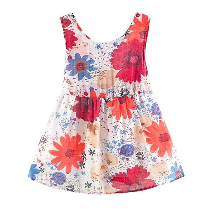 Brightup Vestidos de princesa para bebés,Muchacha niños Vestidos de Fiesta flores sin mangas de