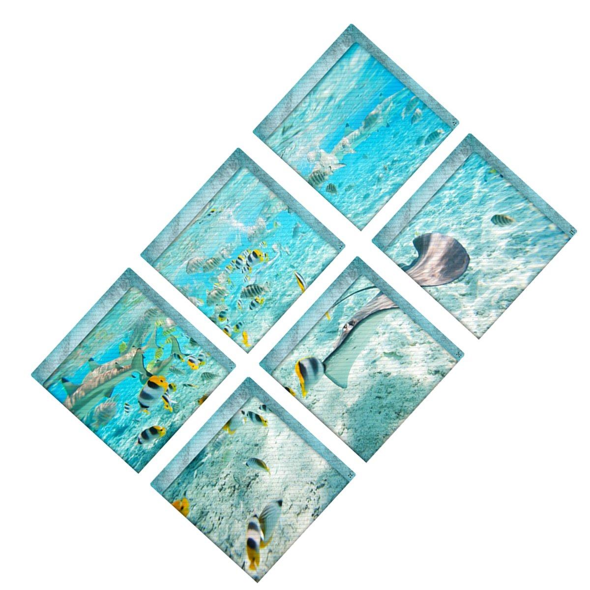 OUNONA Adesivi da bagno antiscivolo da 6 pezzi Adesivi da bagno per il mondo subacqueo Adesivi antiscivolo per la vasca da bagno Adesivi per vasca da bagno