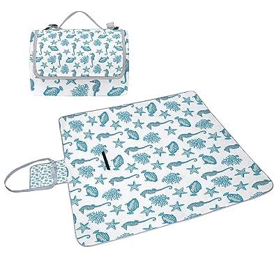 Coosun étoile de mer Corail Hippocampe Couverture de pique-nique Sac pratique Tapis résistant aux moisissures et étanche Tapis de camping pour les pique-niques, les plages, randonnée, Voyage, Rving