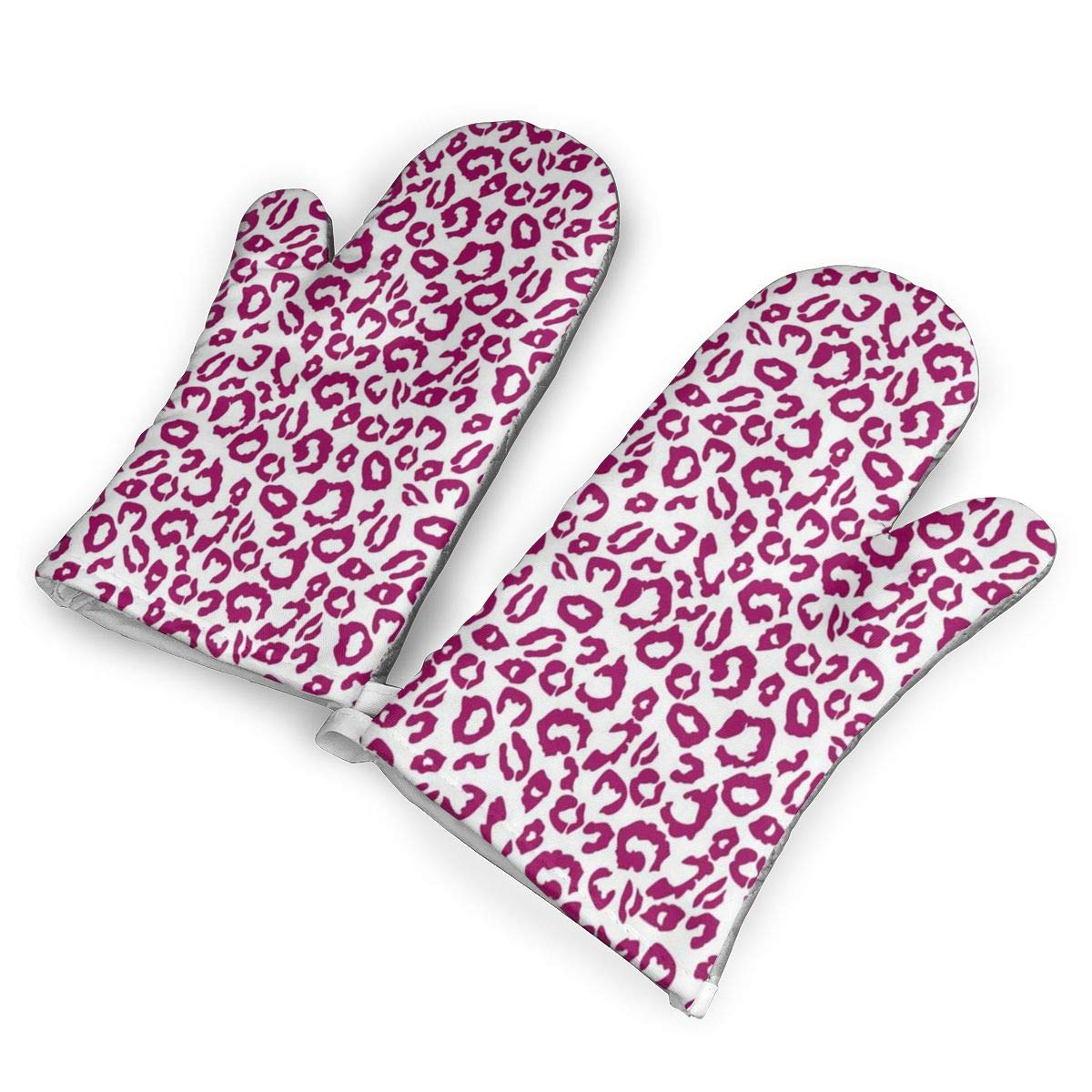 Victoria-Ai Powder Leopard Pink Oven Mitts Premium Heat Resistant Kitchen Gloves Non-Slip Easy to Use Baking Mittens for BBQ/Cooking/Grilling