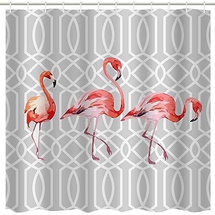 Amazon Com Grey Flamingo Decor Shower Curtain Fabric Pink