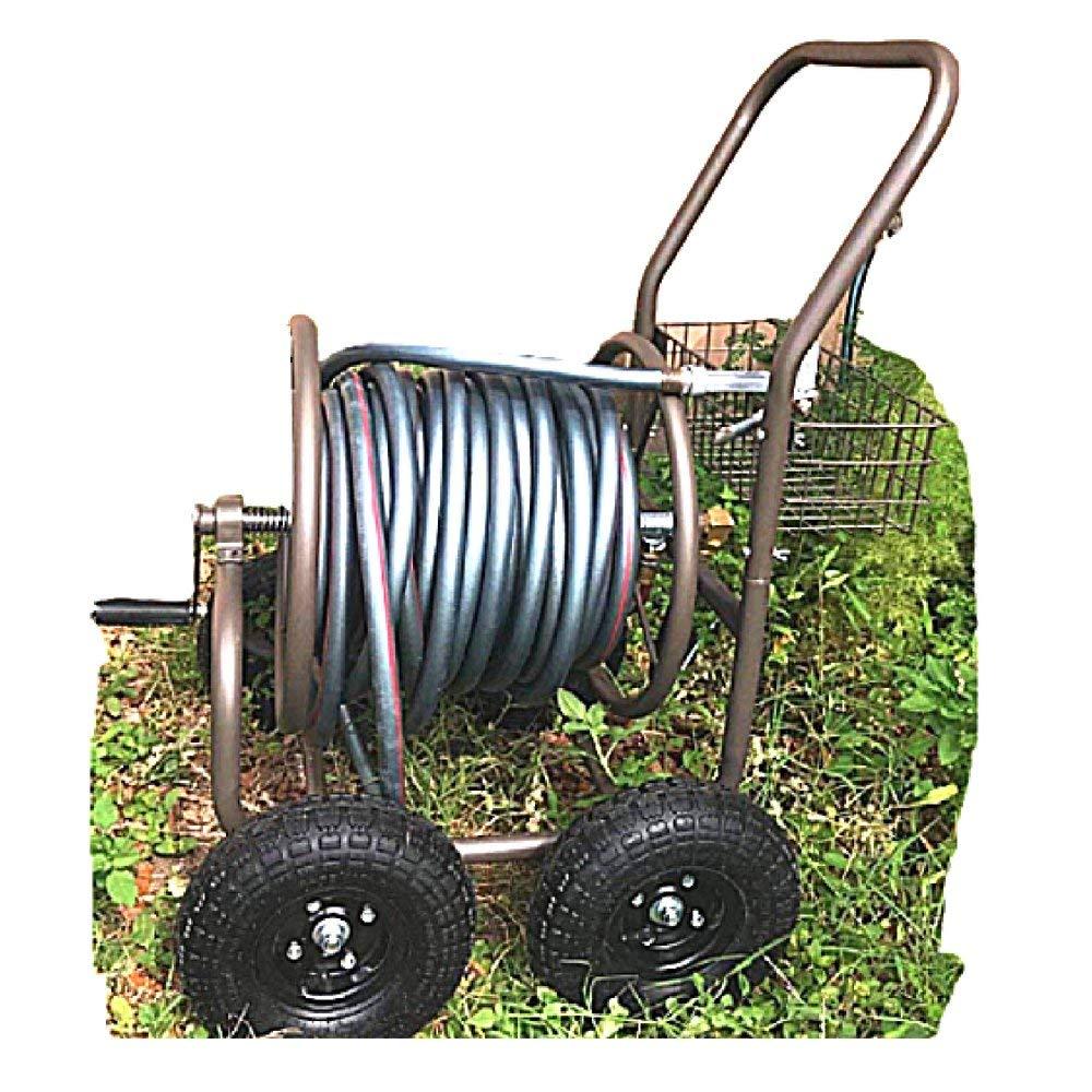 Heavy Duty Garden Hose 200ft Metal Reel Cart 4 Wheels No-Rust Resistant Steel Rustic Storage Basket Mobile & ebook