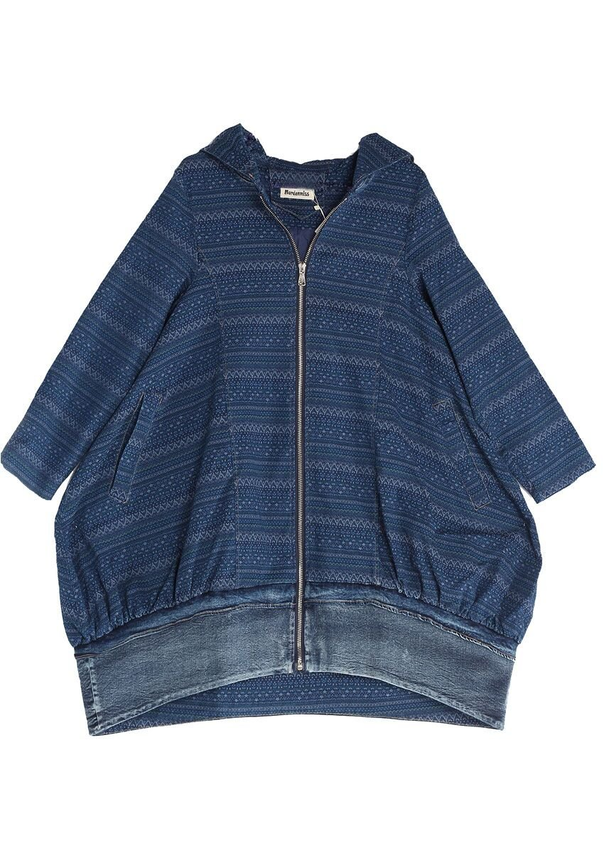 Mordenmiss Women's New Loose Fit Hoodie Zipper Up Denim Trench Coat With Pockets, Style 1-blue, Large by Mordenmiss (Image #7)