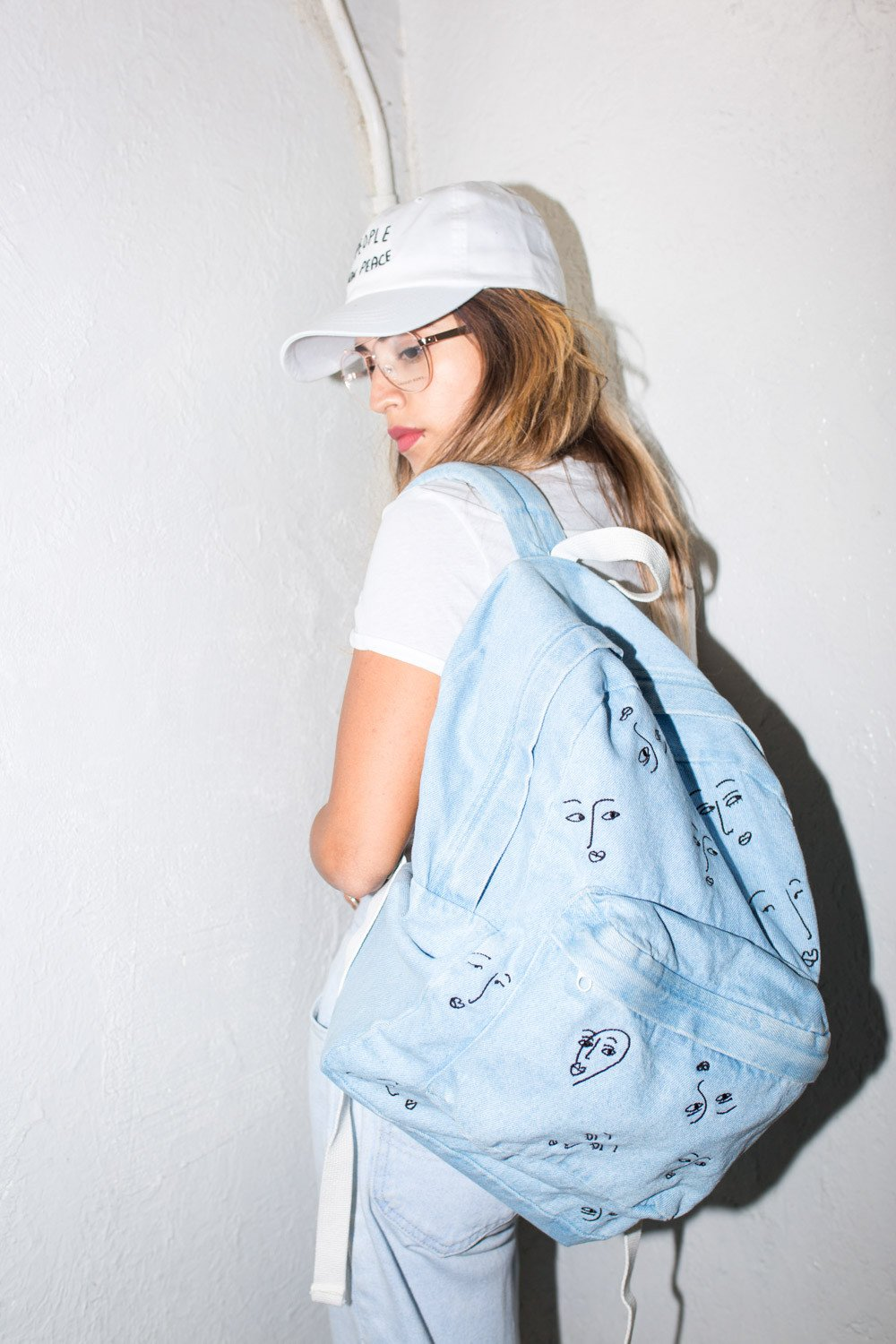 The Style Club - Faces of Love Denim Backpack by CLUB STYLE (Image #7)