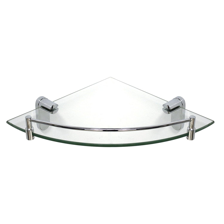 MODONA 8913-A Glass Corner Shelf with Rail Oval Series