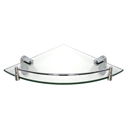 MODONA Corner Glass Shelf with Rail - Polished Chrome - Oval Series ...