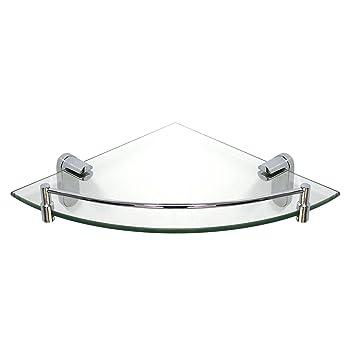 modona corner glass shelf with rail polished chrome oval series 5 year warrantee amazoncom - Glass Corner Shelves
