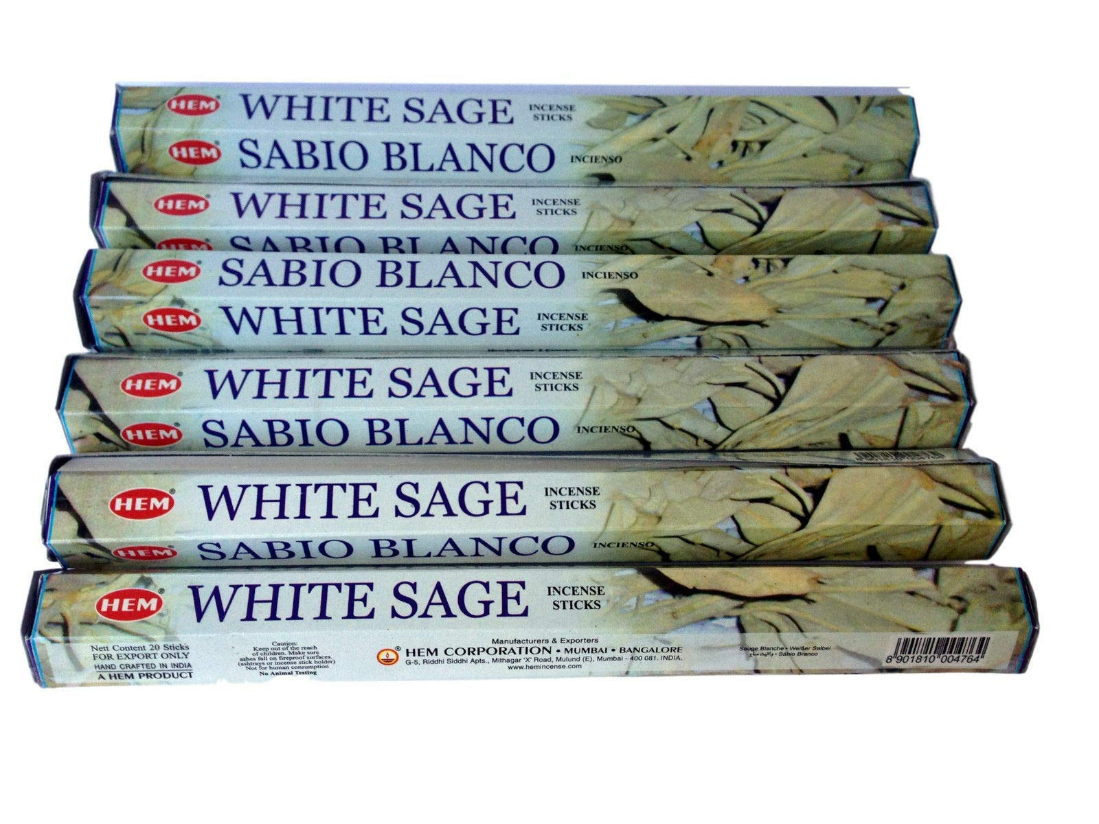 Bestthing Hem White Sage Incense Bulk 6 x 20 Stick (120 Sticks)