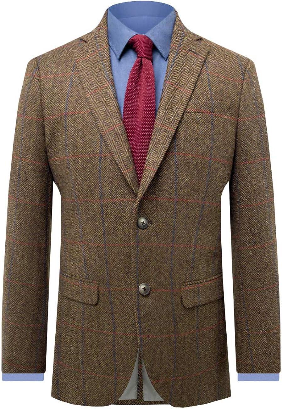 Moon Mens Brown Overcheck Tweed Suit Jacket Regular Fit 100/% Wool