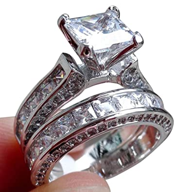 a1d273cda2cd Amazon.co.jp: ulifeshopクリアランス、2イン1レディースビンテージホワイトダイヤモンドシルバーリング婚約結婚指輪セット:  ジュエリー