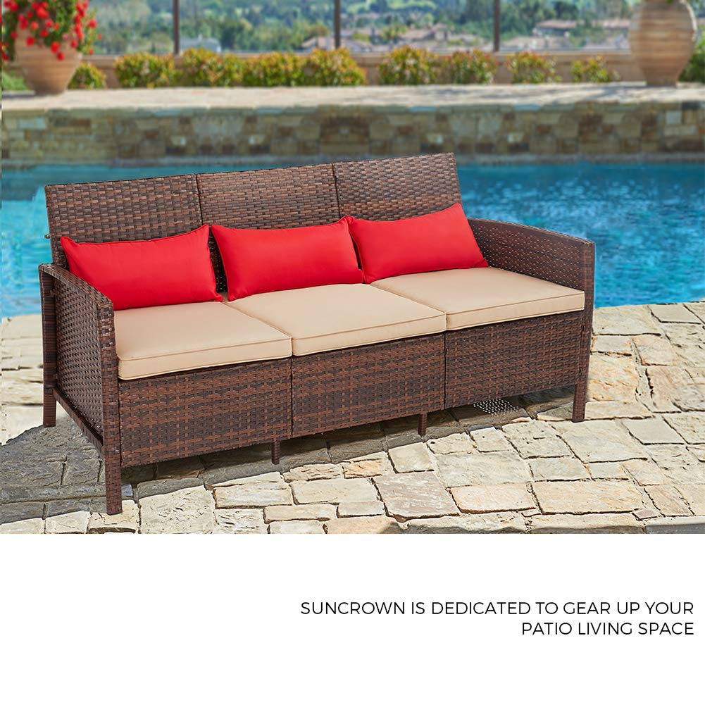 Terrific Suncrown Outdoor Furniture Patio Sofa Couch Seats 3 All Weather Wicker With Thick Cushions Garden Backyard Porch Or Pool Inzonedesignstudio Interior Chair Design Inzonedesignstudiocom