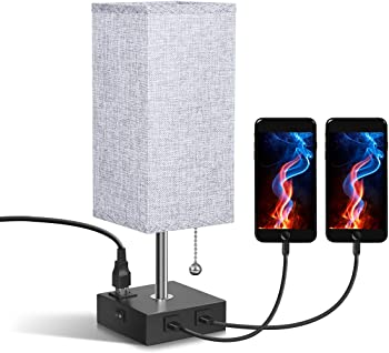 Acaxin USB Bedside Table Lamp with Dual USB Port and Outlet