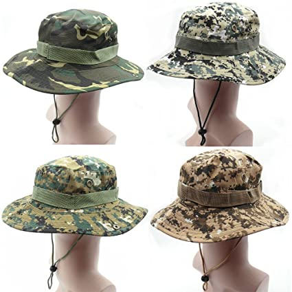 7cc7fdb26df52 TRENDBOX 1 Set (4 Hats) Army Camo Military Digital Boonie Sun Bucket Hat  Unisex