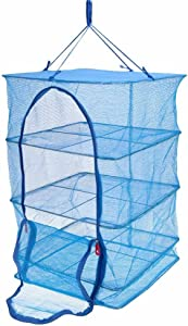Docooler 4 Layers Vegetable Fish Dishes Mesh Hanging Drying Net Blue 40 * 40 * 65cm