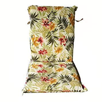 Nattork Floral Patio Cushion For High Back Chairs Not Fade,Water Resistant  U0026 Uv
