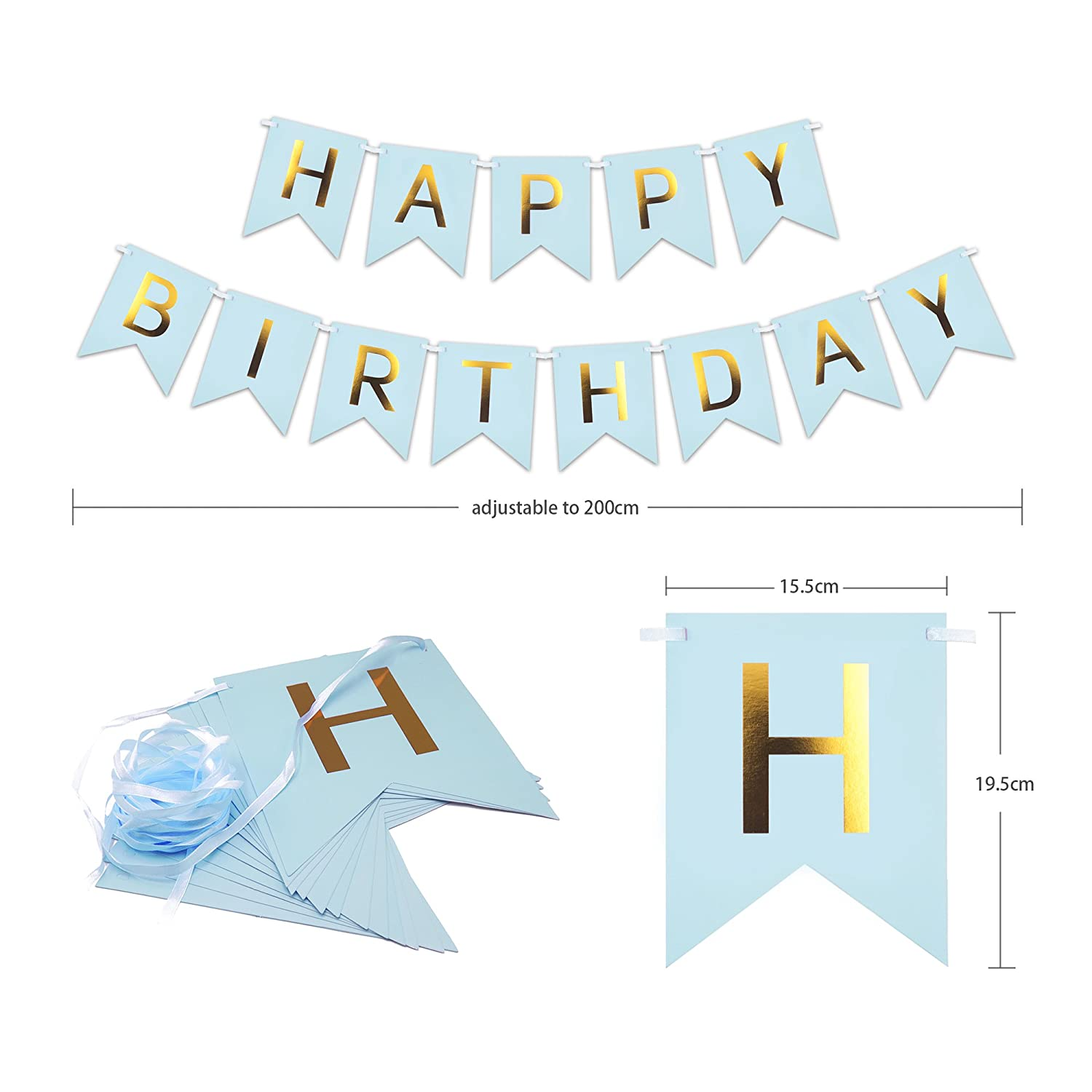 Ribbon Paper Hats Hanging Swirls Balloons Paper Flower Ball MAPLE UK 49pcs Happy Birthday Decoration Supplies Party Decorations for Boys Men with Birthday Banner Blue Cake Flag