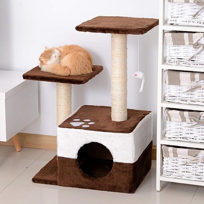 PawHut Rascador para Gatos Árbol Rascador Centro de Actividad Plataformas Caseta Ratón de Juguete 45x33x70cm Sisal Natural: Amazon.es: Productos para ...