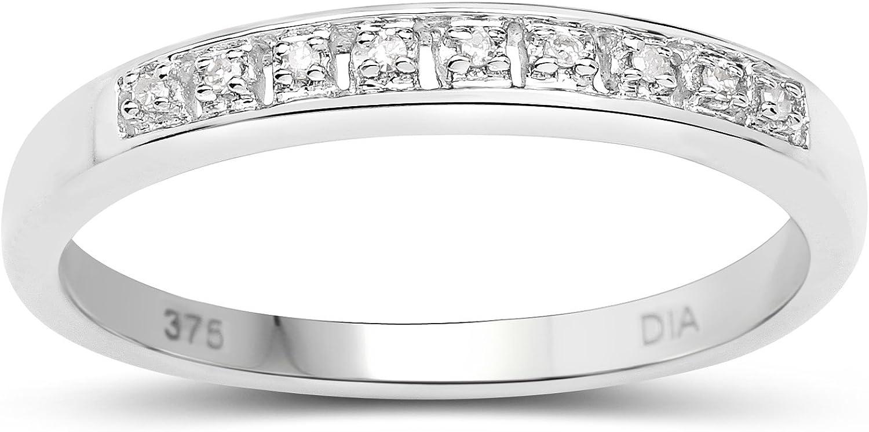 La Colección de Anillos Diamantes: 9ct Anillo de Eternidad Diamantes Blancos de 3 mm de Oro Blanco, talla del anillo 6,8,9,10,11,12,13,15,16,17,19,20,21,22,24,25,26