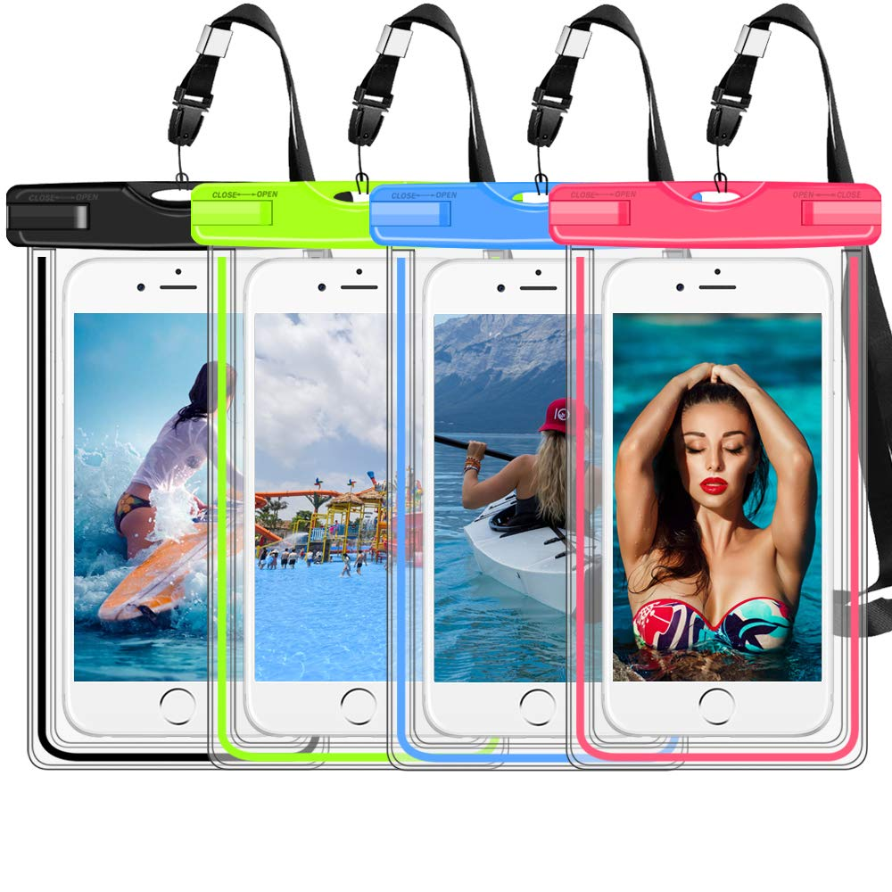 4 Pack Luminous Waterproof Phone Pouch IPX8 Universal Waterproof Case CellPhone Dry Bag Pouch Compatible Apple iPhone Xs Max/X/8/7/6/6s, Galaxy S10/S9/S8/Note 9/8 up to 7'' for Water Parks/Beach/Cruise by Alemozala