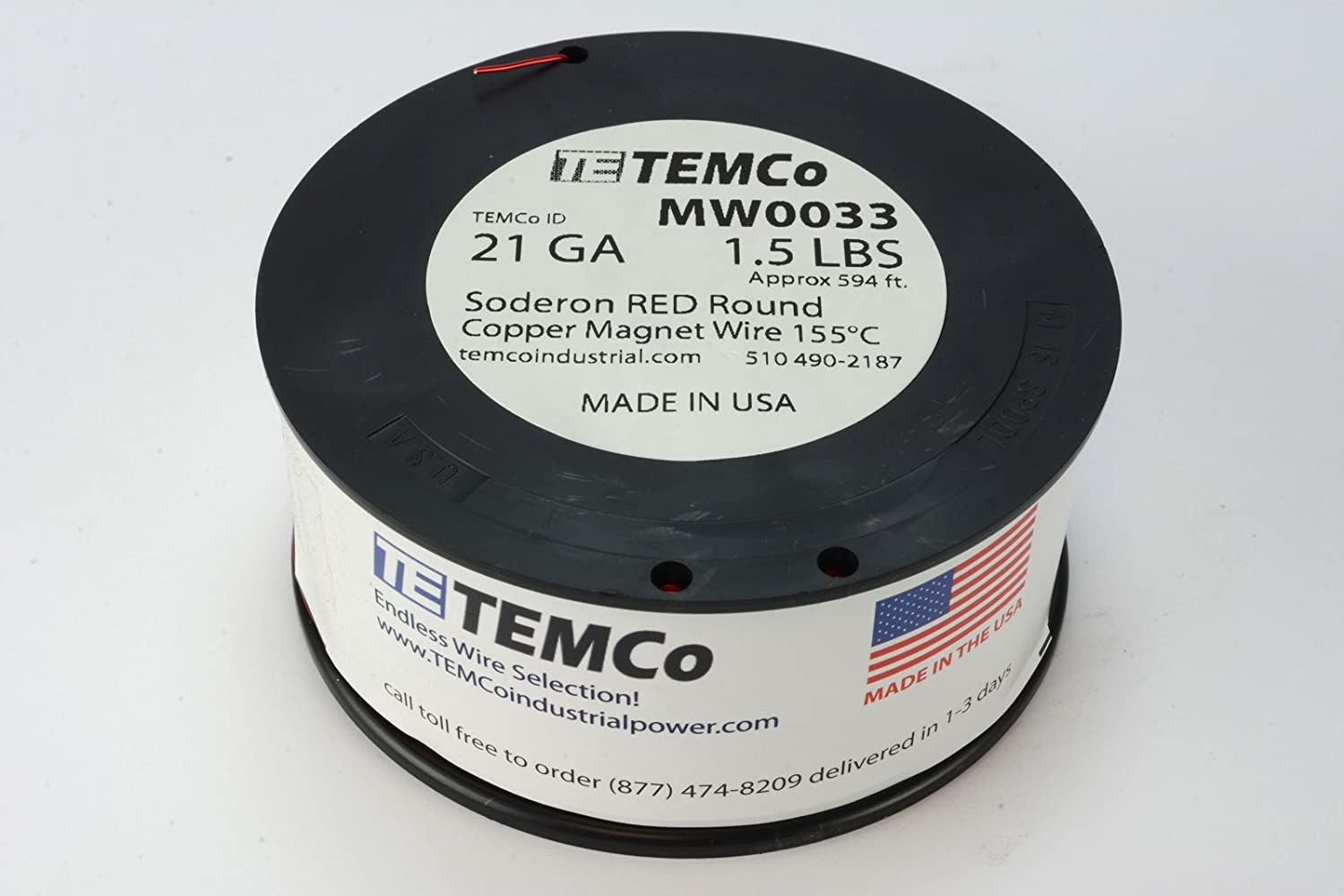 Amazon.com: TEMCo 14 AWG Copper Magnet Wire - 1.5 lb 119 ft 155°C ...