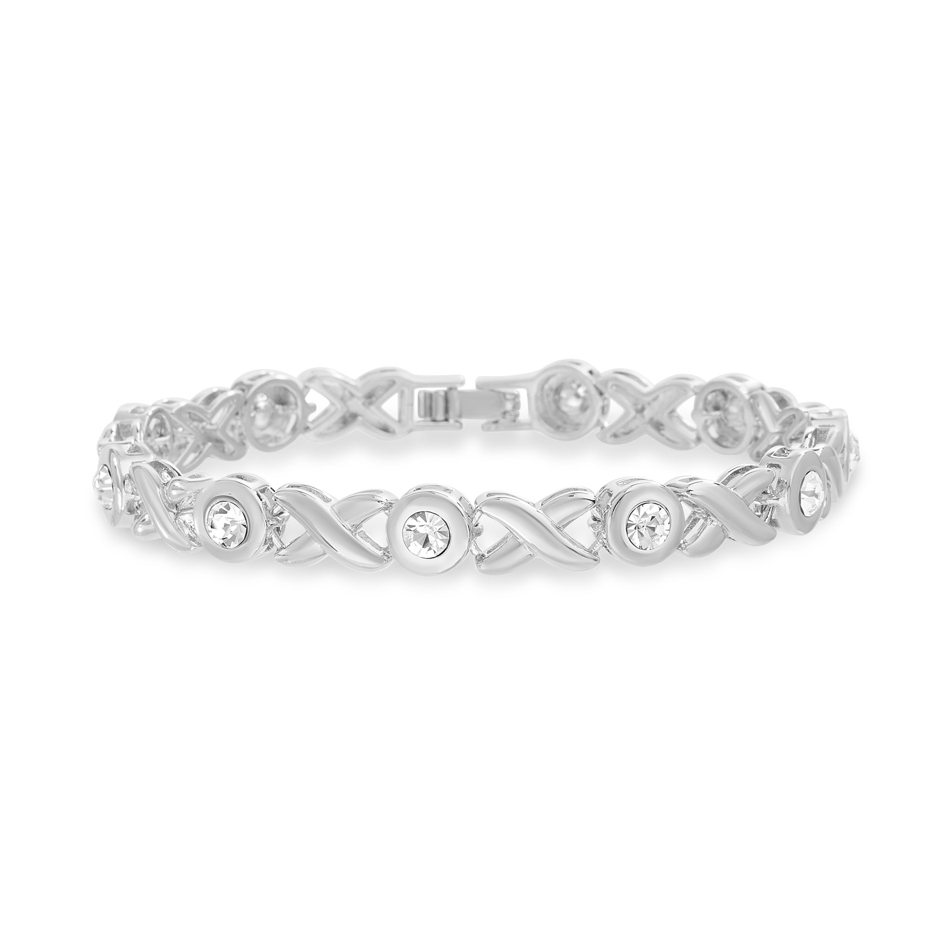 Devin Rose Womens X and O Style Tennis Bracelet Made With Swarovski Crystals in Rhodium Plated Brass