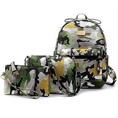 0693de4c4dde Celendi Girls' PU Leather Camouflage Printed School Backpack Shoulder Bag 3  Pieces
