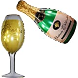 Langxun Wine Glass and Champagne Large Size and Thickened Foil Balloons Air-filled / Helium Balloons for Wedding Birthday Party Anniversary Decorations