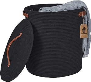"""INDRESSME Tall Hamper with Lid 15.75"""" H × 15.0"""" D Black Laundry Basket Woven Rope Basket Basket Storage Basket in Living Room"""