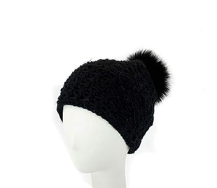 a6fbc31e896 surell Handmade Starfish Knit Hat with Faux Fur Pom - Winter Ski Cap (Black)
