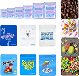120 Pieces Cookies 3.5g Mylar Bags reusable Smell Proof Mylar Bag Heatseal Bags with Holo Stickers and Stand-up Ziplock Foil Bags,Food Safe Plastic Aluminum Material (120, Mix)
