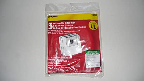 Shop Vacuum Cleaner 4 Gallons, 15,1 Liters Type Ll Bags Part # 90660 (3 in Pack)