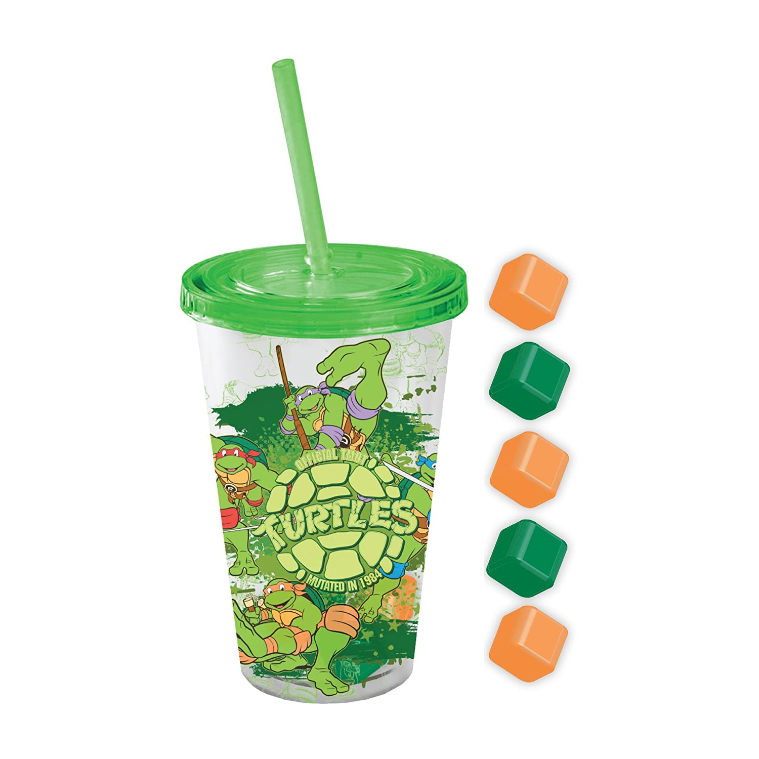 Silver Buffalo NT43087Q Nickelodeon TMNT Mutated 1984 Cold Cup with Square Ice Cubes Lid & Straw, 16 oz, Multicolor