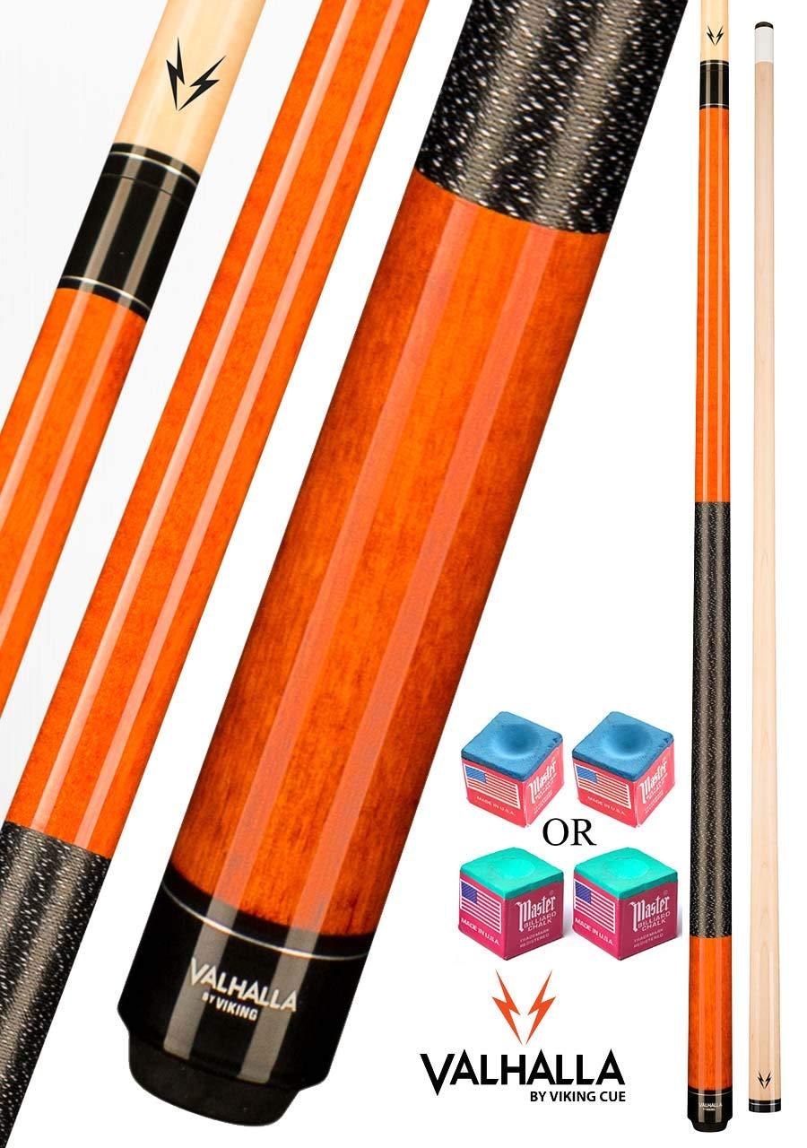 Valhalla VA119 by Viking 2 Piece Pool Cue Stick Autumn Orange Stain Irish Linen Wrap 16-21 oz. Plus Blue Master Chalk (Autumn Orange, 19)